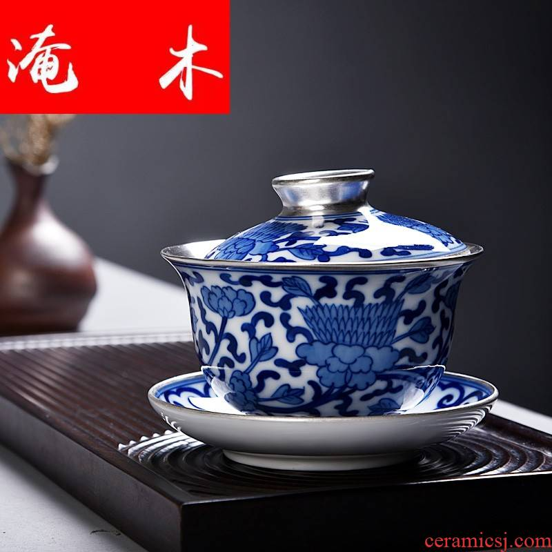 Flooded wooden household silver mine loader silver hand - made porcelain tureen large tea ware jingdezhen manual only three bowls of kongfu