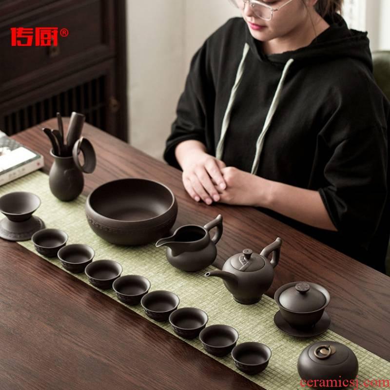 The kitchen undressed ore purple sand tea set household teapot GaiWanCha plate) a complete set of tea cups box [2