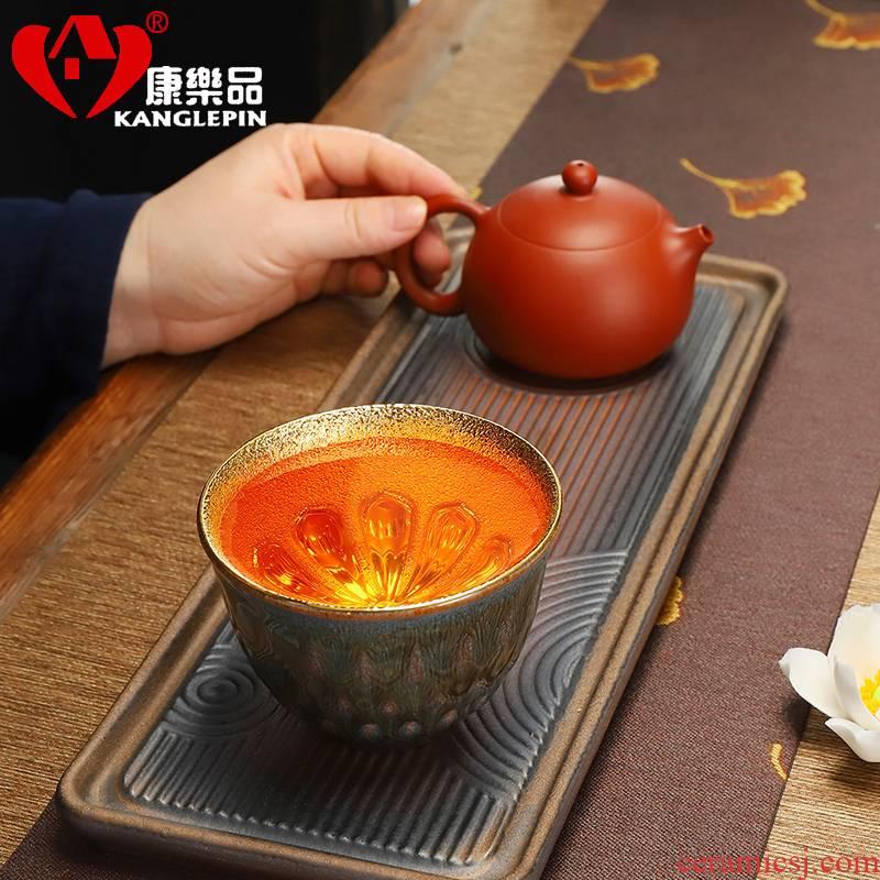 Recreational taste pure manual cup purple sand tire building golden cup lamp cup glaze forgiveness jinzhan 24 k masters cup tea cups