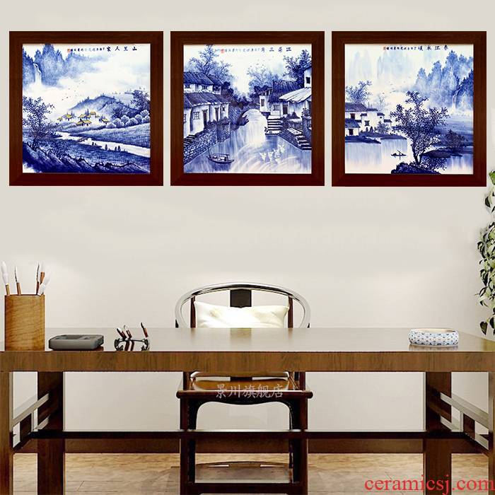 Porcelain plate painter jingdezhen hand - made archaize to hang in the living room sofa setting wall ceramic painting Porcelain plate painting square
