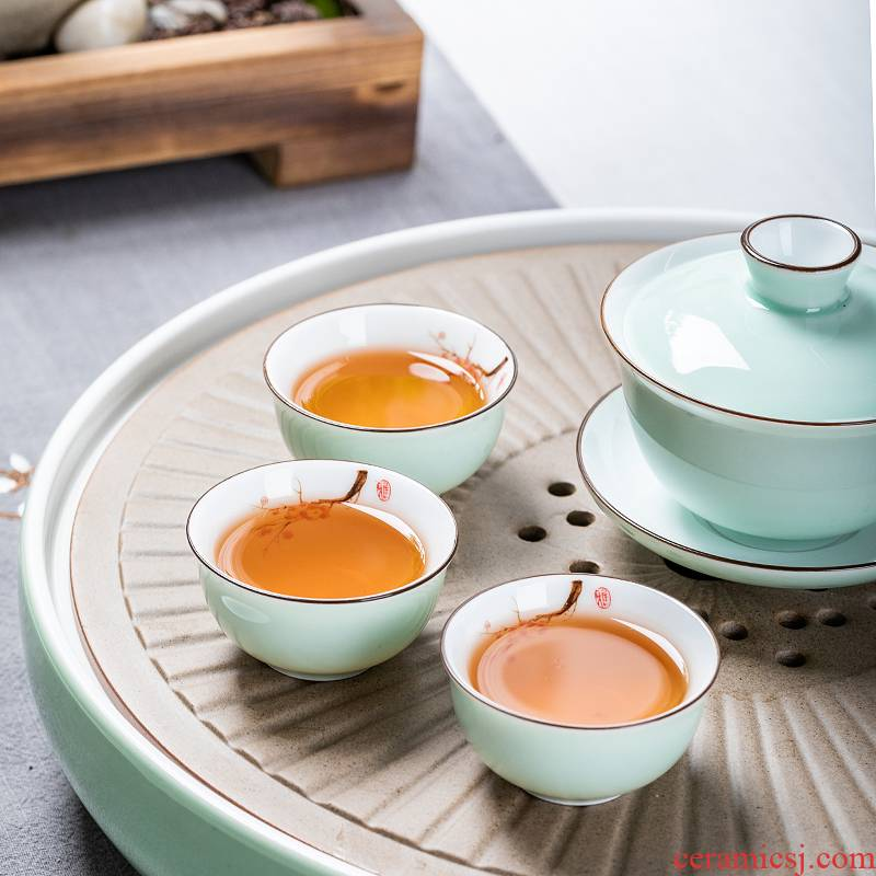 Chaoshan kungfu tea set suit household contracted a small set of dry tea tray was covered bowl of a complete set of ceramic tea cups ship office