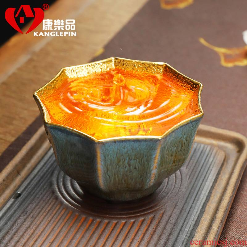 Recreational product new Chinese violet arenaceous gold tea set manually 24 k gold master cup jingdezhen konoha built light tea cups