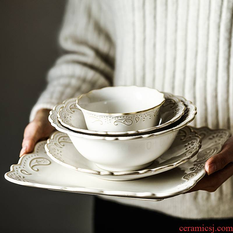 Of Europe type palace restoring ancient ways Of ceramic dish bowl dish pot Of beefsteak dessert salad bowl dish dish Of French embossment tableware