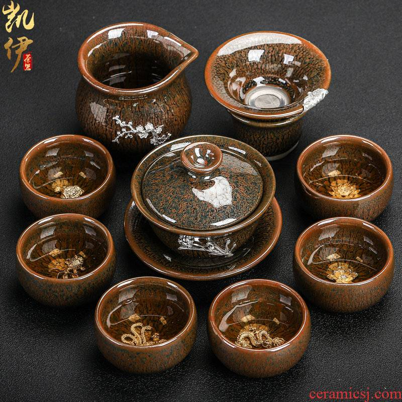 Build light hand with silver tureen tea sets kung fu tea set silver cup temmoku obsidian ceramic tea sets with tea