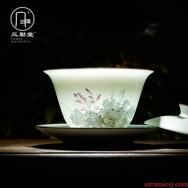 The three frequently tureen ceramic cups tea bowl of jingdezhen tea service hand - made pastel three cups of large - sized S12009