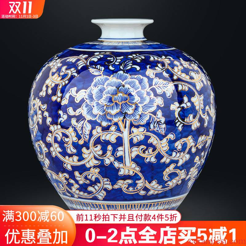 Jingdezhen ceramics by hand the see colour blue and white porcelain vases, Chinese style living room wine home furnishing articles