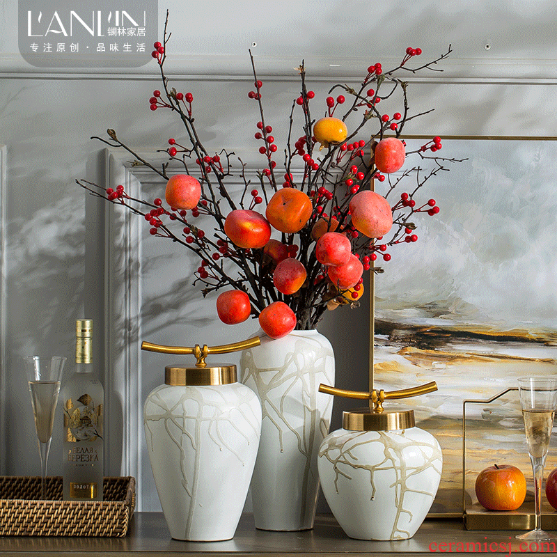 Simulation flower, dried flower flower arranging new sitting room of Chinese style household ceramic vase furnishing articles furnishing articles, the sitting room is contracted Europe type arranging flowers