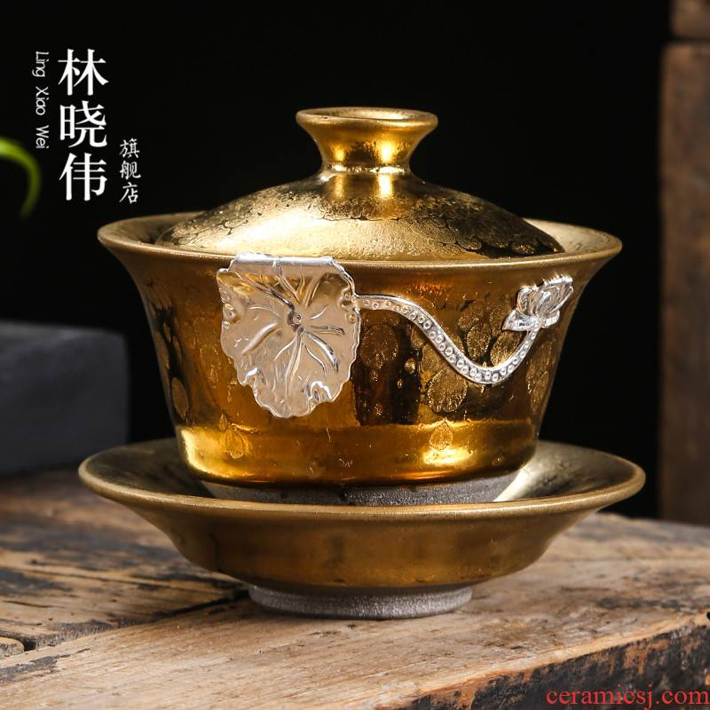 Build light gold iron foetus tureen temmoku ceramic cups three cup kung fu tea sets large household tea bowl