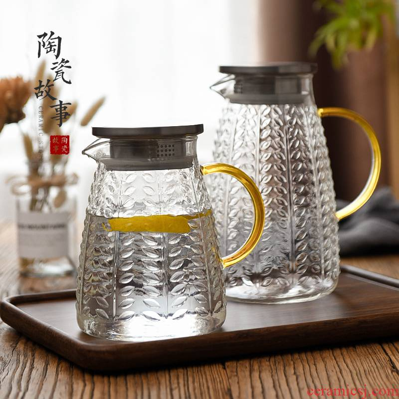 Ceramic story more cold water kettle suit glass high - temperature high - capacity Nordic cold boiled water, water kettle