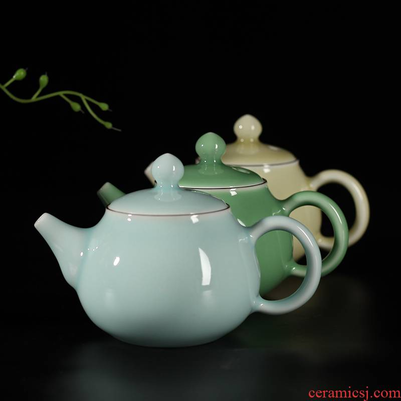 Get together scene scene celadon half checking ceramic teapot tea filter household utensils package mail kung fu tea pot