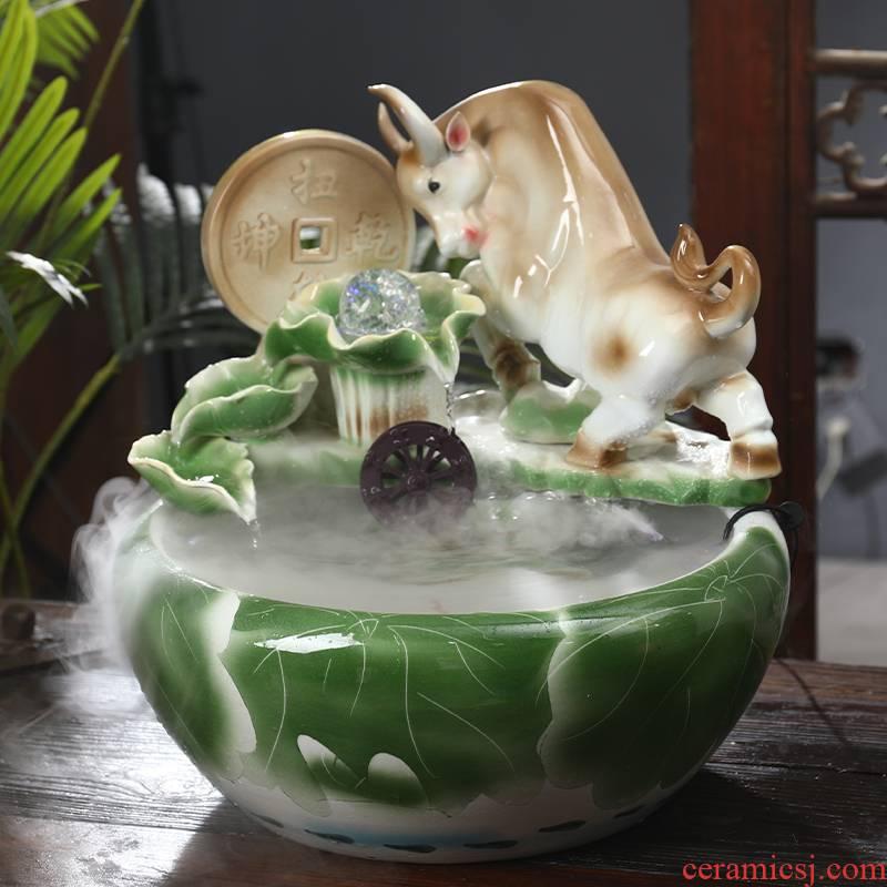 Ceramic water tank in plutus feng shui wheel furnishing articles home office desktop adornment opening housewarming gift