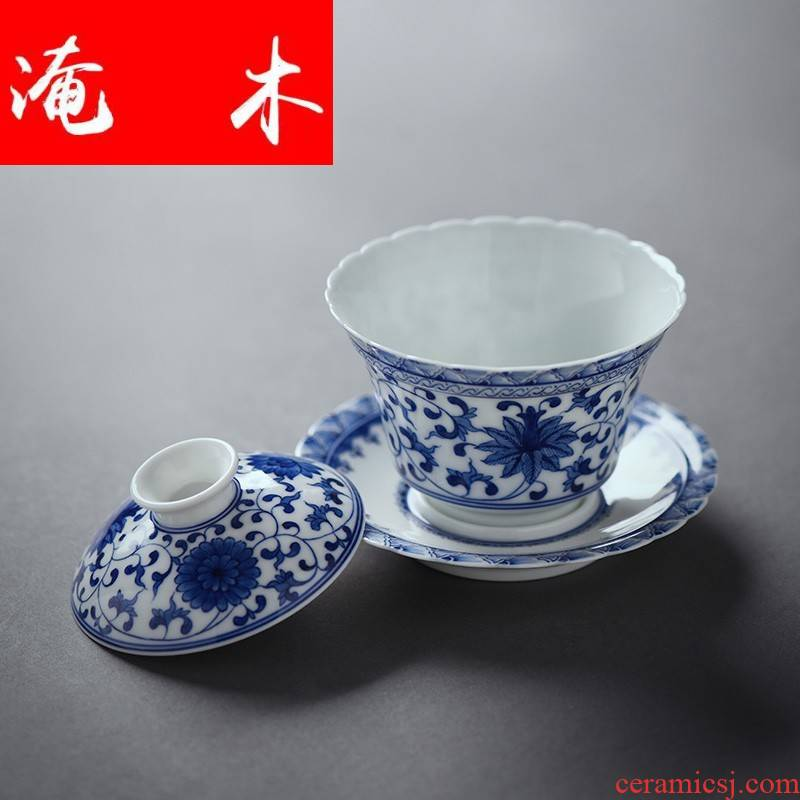 Submerged wood carved porcelain of jingdezhen ceramics bound lotus flower all hand only three tureen kung fu tea bowl of tea