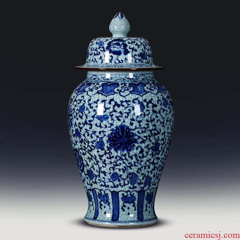 Blue and white porcelain of jingdezhen ceramics general tank hand - made archaize to heavy storage tank with cover furnishing articles ground adornment
