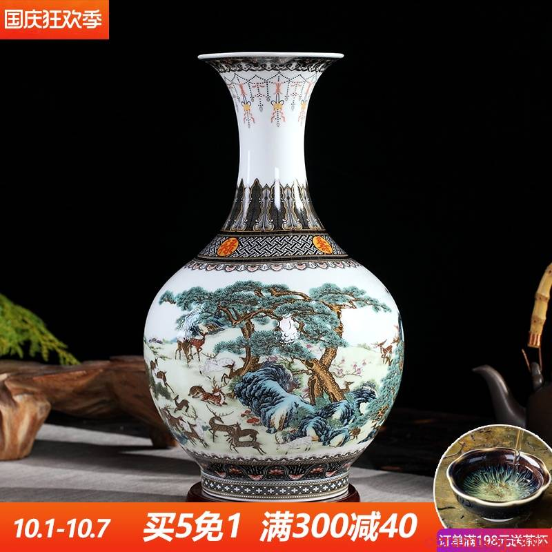 Powder enamel vase furnishing articles rich ancient frame of jingdezhen ceramics home sitting room flower arrangement craft adornment ornament