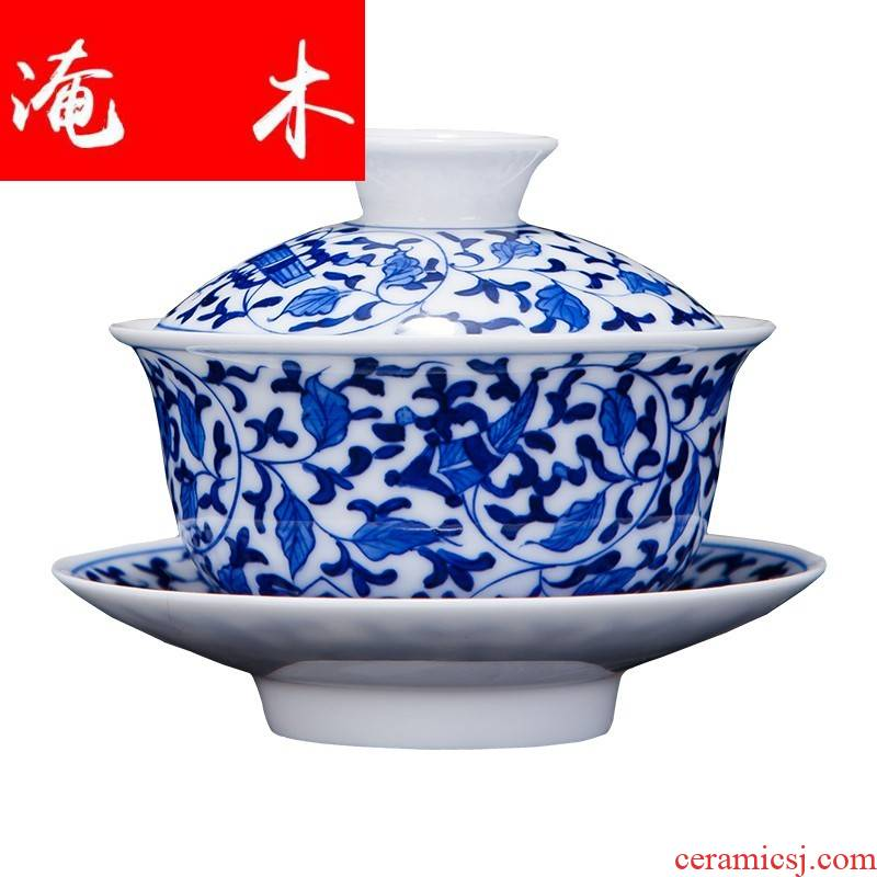 Flooded the wooden hand by hand in blue and white porcelain tureen tea sets jingdezhen kung fu tea set three bowl of tea bowl
