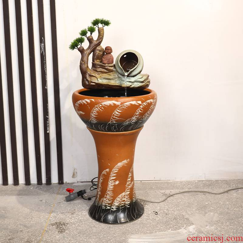 Jingdezhen ceramic floor pillar type water apparatus tank large bowl LianHe flowerpot brocade carp goldfish bowl water lily cylinder
