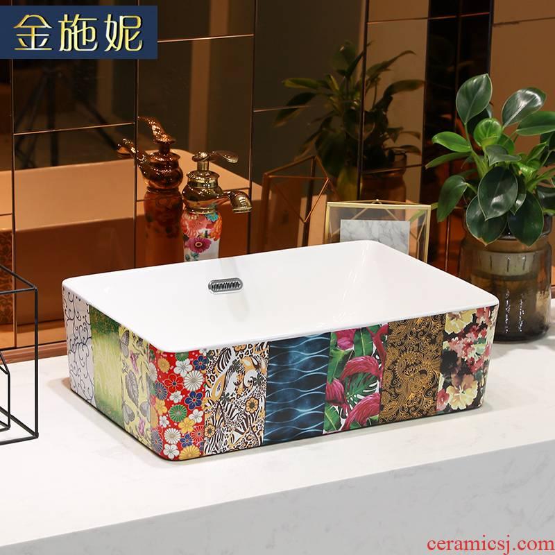 Gold cellnique stage basin on the ceramic lavabo single balcony lavatory basin basin bathroom basin that wash a face