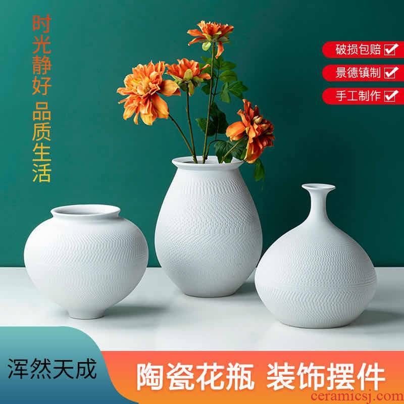 The new modern Chinese style manual cutter biscuit firing creative vase furnishing articles sitting room between example custom ceramic decoration