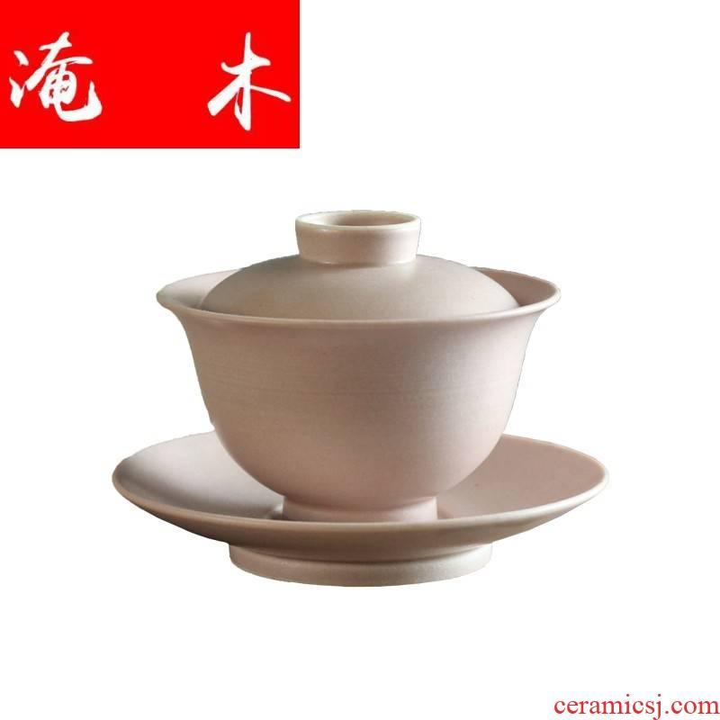 Submerged wood XinYing new jingdezhen high temperature ceramic powder by hand glaze kung fu tea set large tureen three bowls