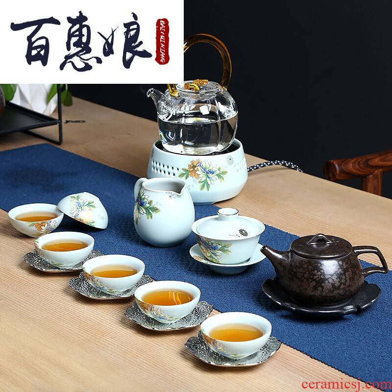 (niang brought the cooking tea art tureen kung fu tea set ceramic household glass teapot teacup set series