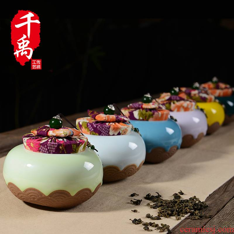 Shadow enjoy ceramic tea pot pu 'er tea box box POTS sealed storage POTS caddy fixings in large Q