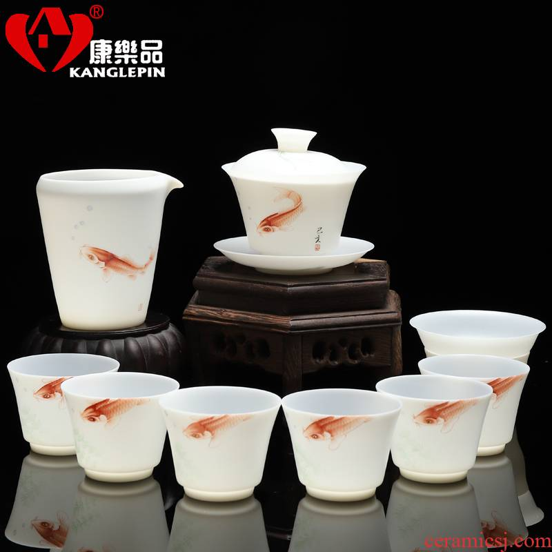 Recreational product hand - made thin foetus tureen 10 into the suit household leather box of kung fu tea set ceramic suet jade tureen sitting room