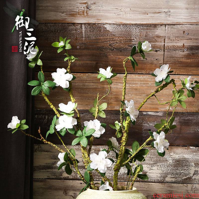 Simulation flower azalea fake flower adornment modelling of soft terms branches decorative flower pot garden decorative ceramics