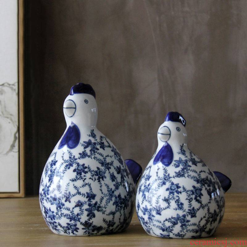 Jingdezhen ceramic chicken furnishing articles crafts checking antique piece of chicken sitting room open the parent - child of blue and white porcelain decoration