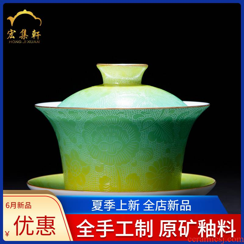 Gradient tureen bowl grilled pastel flowers cup pure manual jingdezhen ceramic large - sized kung fu tea tea bowl