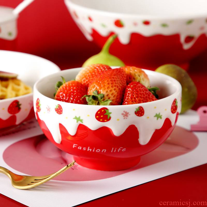Japanese ceramics eat rice bowl household dish dish dish combination of creative move and lovely strawberry to use of a single network red tableware