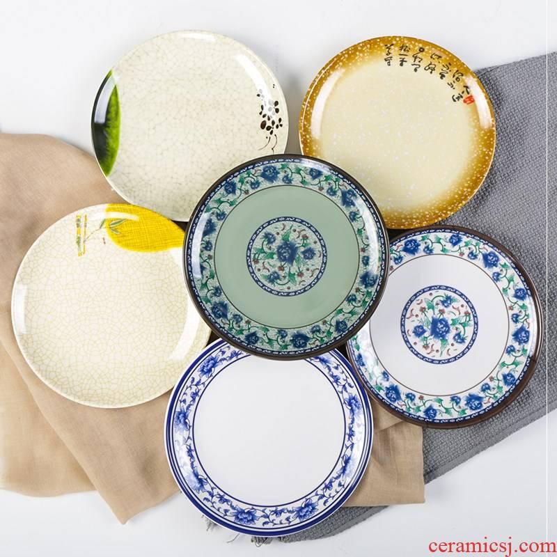 Plastic circular creative melamine plate disc household dish ltd. dish tile - like fell flat plate plate