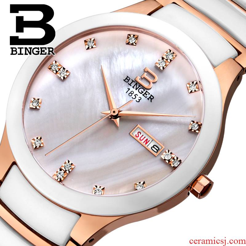 Chen xiao chun com.lowagie.text.paragraph with authentic BINGER accusative watch male table quartz ceramic table water - resistant mei Jin Bai harbor