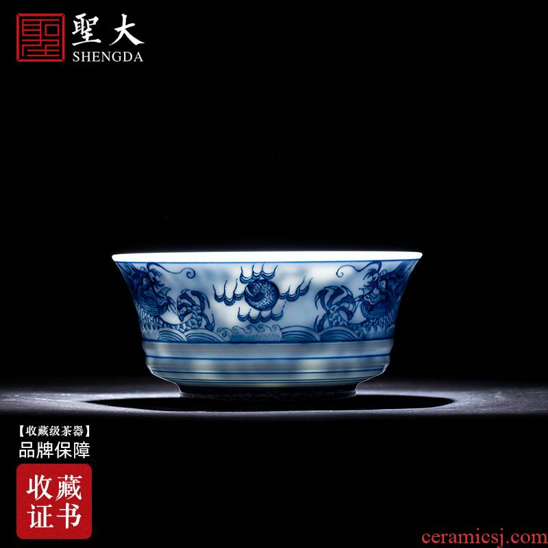 Holy big blue and white full cup sample tea cup hand - made ceramic kung fu wulong lines master cup of jingdezhen tea service by hand