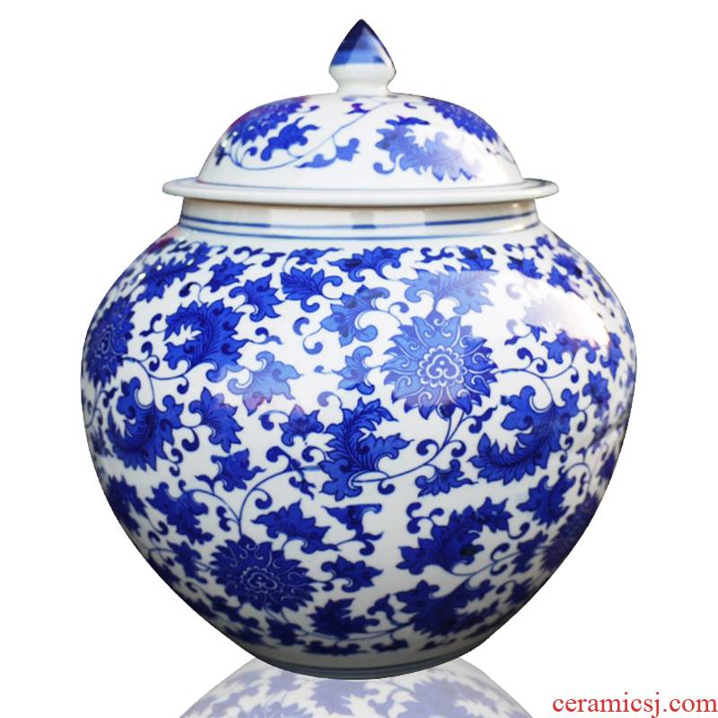 Jingdezhen ceramic storage tank caddy fixings blue and white porcelain covered container barrel porcelain jars