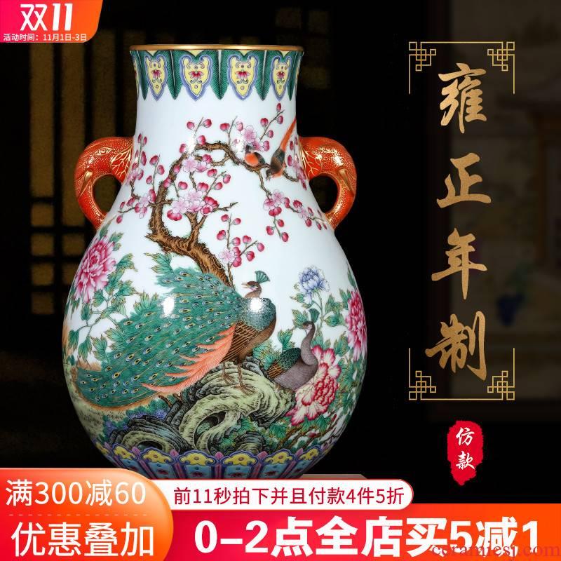 Jingdezhen ceramics hand - made archaize pastel double vase furnishing articles sitting room listen barrel flower arrangement sitting room adornment