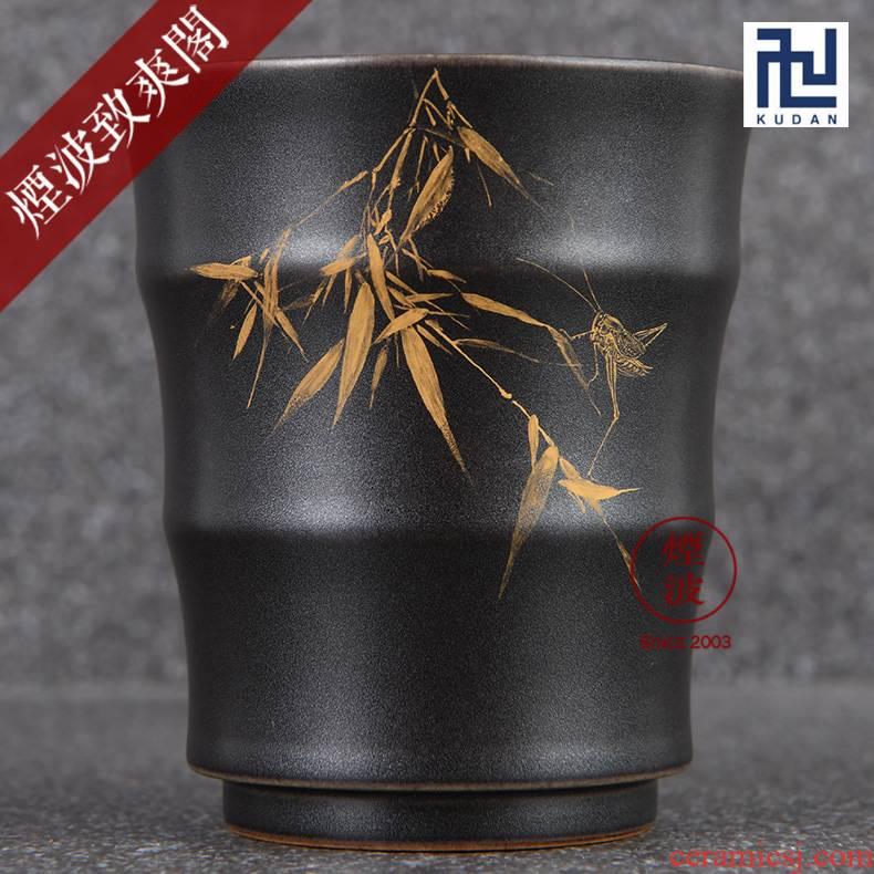 Those jingdezhen nine calcinations hand - made silver star burnt black glaze porcelain hand work report peaceful bamboo bamboo cups