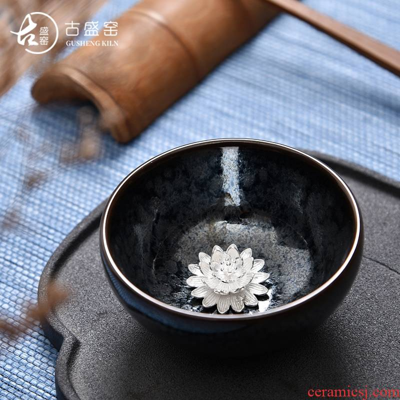 Ancient sheng up new star silver temmoku whitebait glass up ceramic bowl with the master sample tea cup tea cup