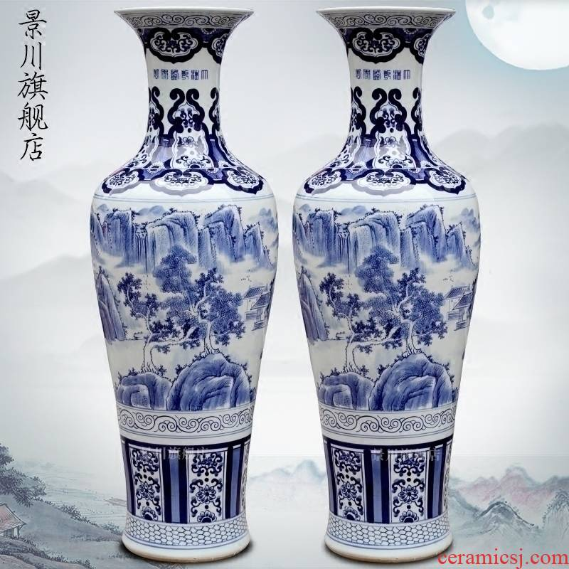 Jingdezhen porcelain ceramic hand - made landscape of large vases, home furnishing articles sitting room of Chinese style hotel adornment