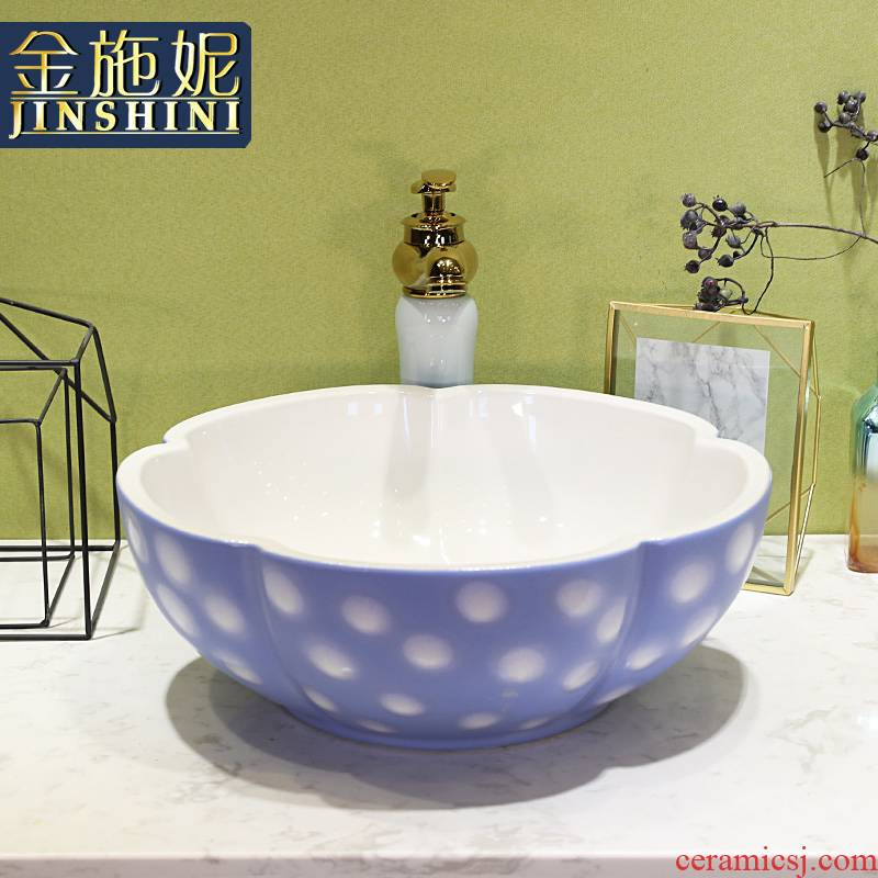 Gold cellnique jingdezhen ceramics stage basin of wash one lavatory toilet basin home outfit the pool that wash a face of modern wind