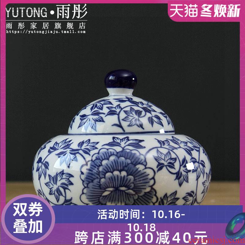 Restoring ancient ways of jingdezhen ceramics porcelain pot double blue and white porcelain decorative furnishing articles and joyful cylinder/receive a box of candy