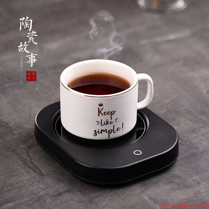 Ceramic heating cup mat household story glass cup teapot adjustable temperature automatic constant temperature thermal insulation base treasure