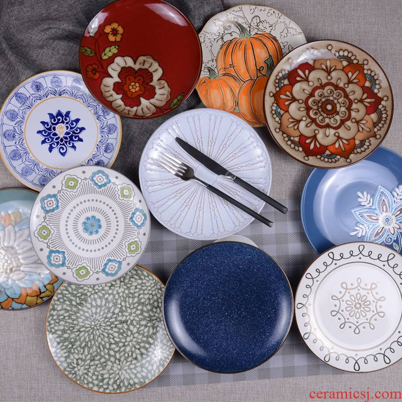 Ceramic plate five dishes disc household creative move plate contracted beefsteak plate flat fruit bowl dishes