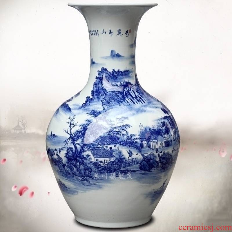 Jingdezhen porcelain ceramic hand - made beautiful green vase household living room office study Chinese place adorn article