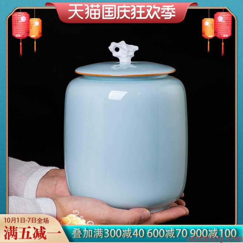 Jingdezhen ceramic film pu 'er tea, green tea, green tea jar Chinese style household sealed container storage tank furnishing articles