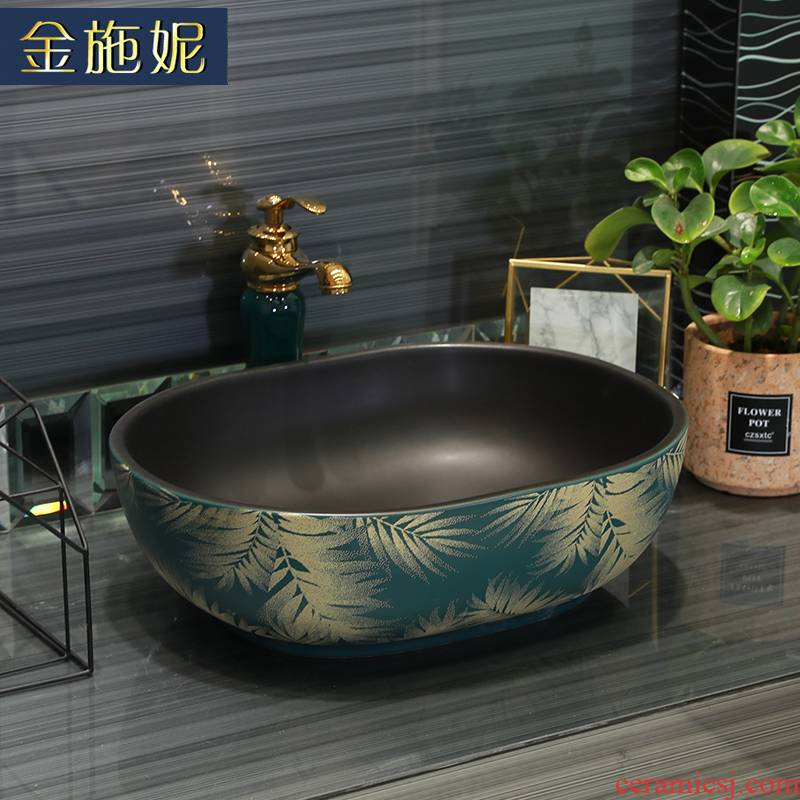 Gold cellnique stage basin rectangular circular for wash basin sink art ceramic lavatory basin basin of the balcony