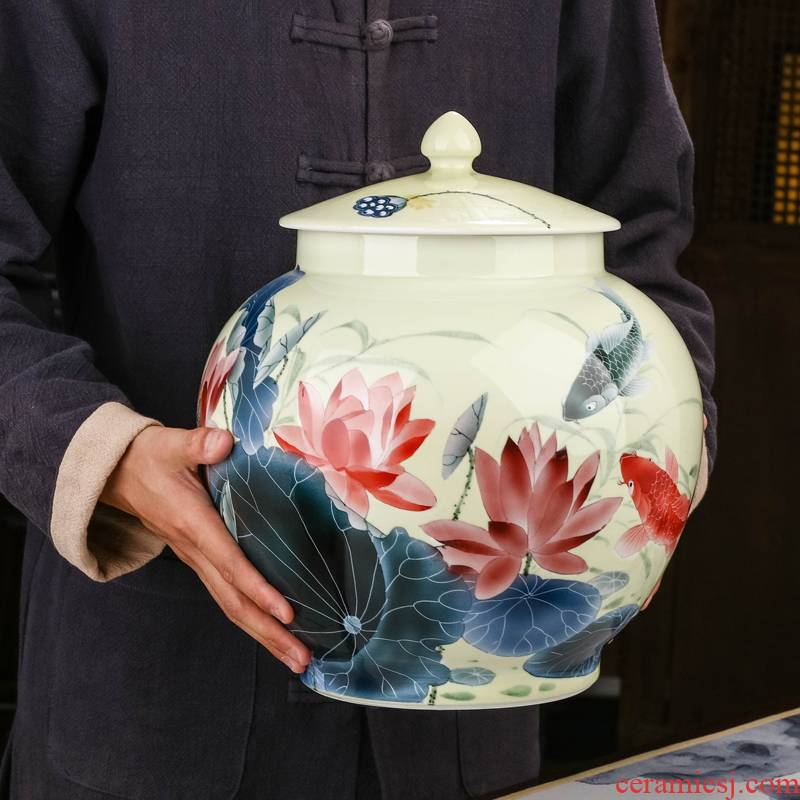 Jingdezhen ceramics hand - made of lotus pond was fragrant tea as cans ceramic large bulk with cover white tea POTS