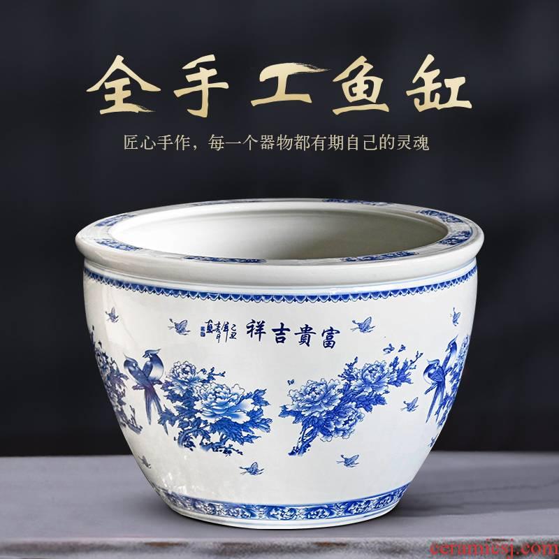 Jingdezhen ceramic aquarium 1 m fish bowl goldfish bowl courtyard ceramic turtle cylinder creative household water lily basin