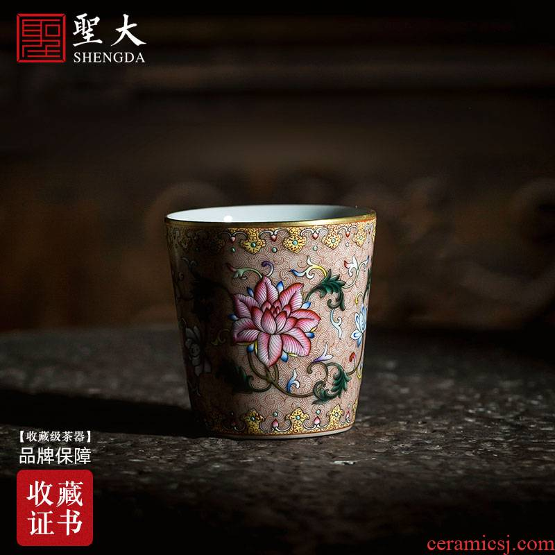 Holy big ceramic kung fu tea cups heavy colored enamel bound branch flowers master cup straight cup of jingdezhen tea service by hand