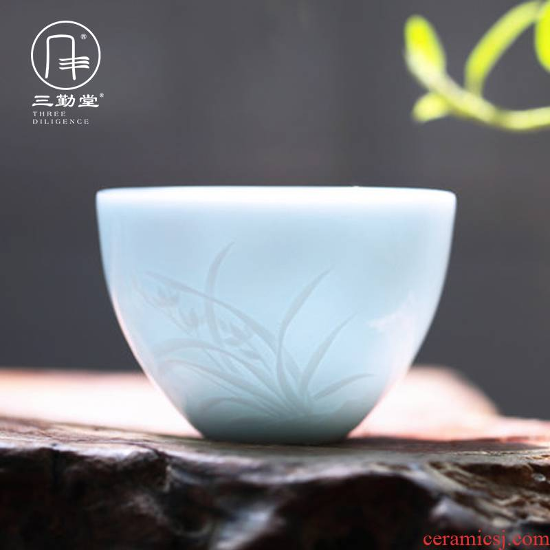 Three frequently hall kung fu tea master of jingdezhen ceramic tea set sample tea cup cup single CPU by patterns S41051