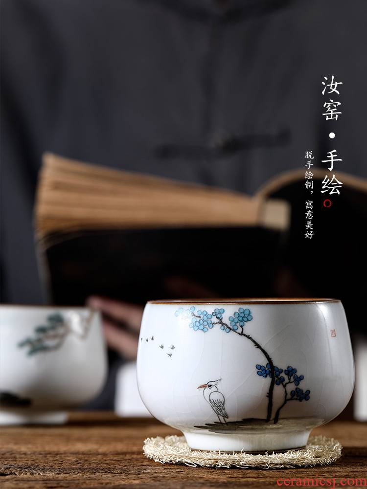 Ru up market metrix who kung fu tea cup single CPU jingdezhen of pure manual single sample tea cup, hand draw flowers and birds on ceramics